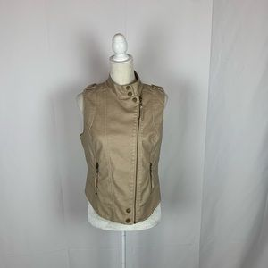 Blanc Noir Faux Leather Moto Vest